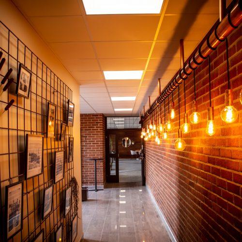 Ingången med mycket inbjudande väggdekoration. Strålar hög klass och stil